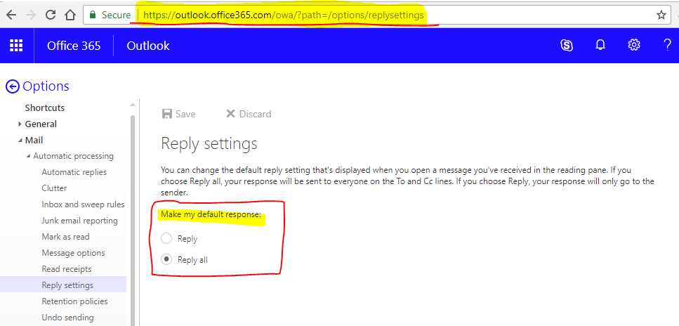 Office365 Reply Settings